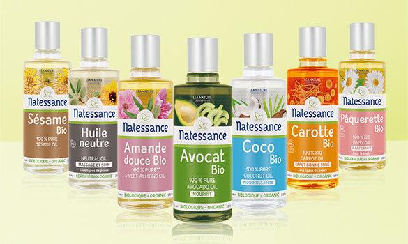 La gamme d'huiles végétales bio de la marque Natessance